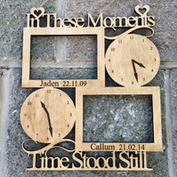 Wooden in These Moments Time Stood Still Frame - New Baby Christening Baptism