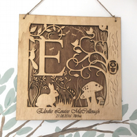 Personalised Woodland Letter Frame - New Baby Birth Christening Baptism Keepsake