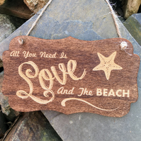 All You Need is Love and The Beach Sign - wooden wall sign gift surfer wedding