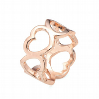 Rose Gold Plate Hearts Ring