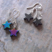 Rainbow or Hematite Star Earrings