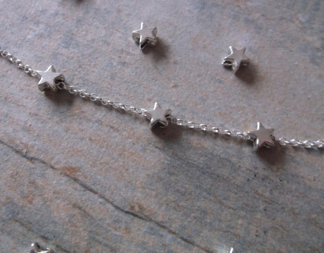 SUMMER SALE. Silver Mini Stars Anklet