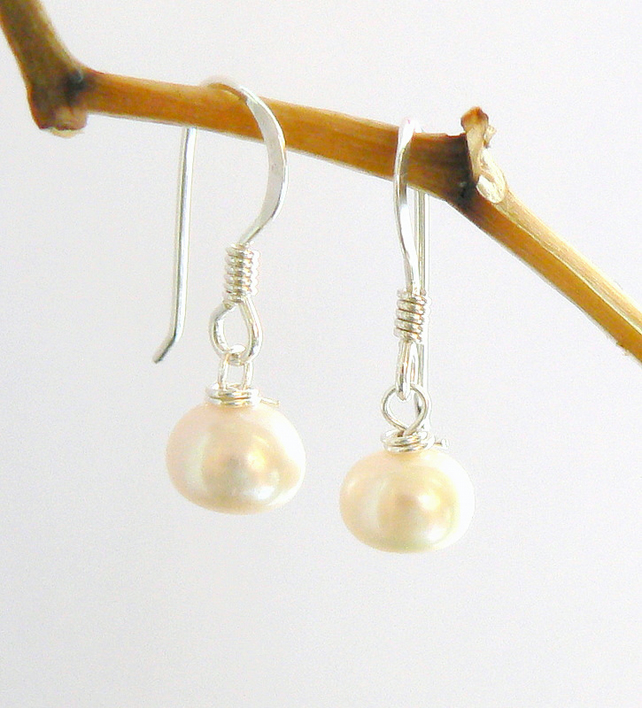Ivory  Grade A Button Freshwater Pearl Drop Earrings