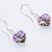 Lilac AB Swarovski Crystal Heart Earrings