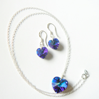Blue AB Swarovski Heart Pendant and Earring Set