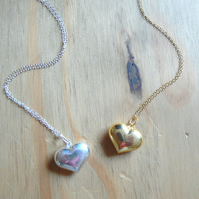 Gold Vermeil or Silver Puffed Heart Pendant