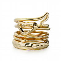 SALE. Gold Plate Stacking Rings with Crystal