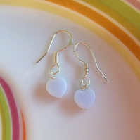 Mini Blue Lace Agate Heart Drop Earrings