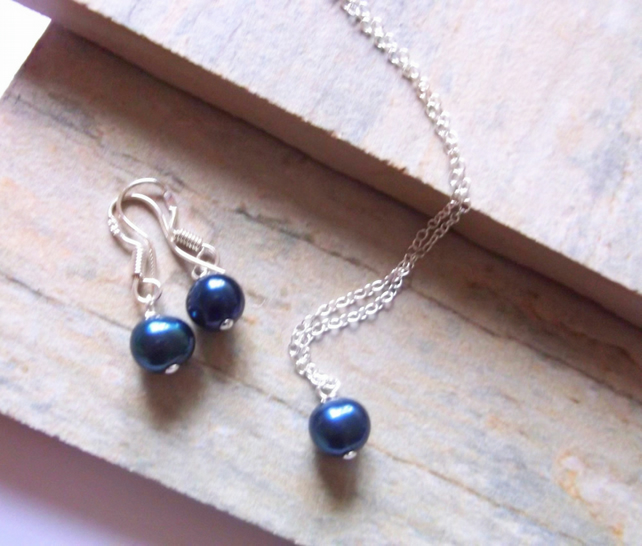Midnight Blue Freshwater Pearl Pendant and Earring Set
