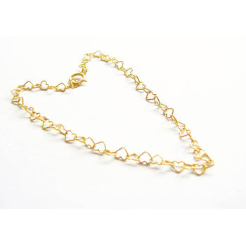 Gold Vermeil Hearts Anklet 9.5 inches