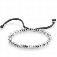 Silver and Suede Friendship Bracelet