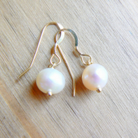 22k Gold Vermeil and Ivory Freshwater Pearl Drop Earrings