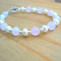 Ivory Freshwater Pearls, Rose Quartz and Sterling Silver Bracelet