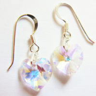 Clear AB Swarovski Crystal Heart Drop Earrings
