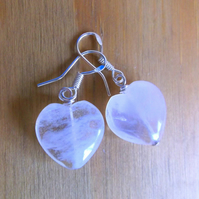 Rose Quartz Heart Drop Earrings