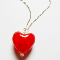 Red Venetian Glass Heart Pendant with Swarovski Crystals