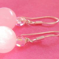 Rose Quartz and Swarovski Crystals Sterling Silver Earrings