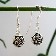 Silver Rosebud Drop Earrings.