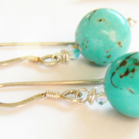 Turquoise and Swarovski Crystal Drop Earrings