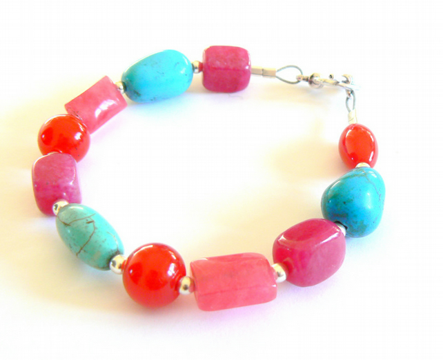 Multi-Coloured Jade and Turquoise Bracelet