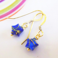 22K Gold Vermeil with Blue and Gold Mini Star Drop Earrings.
