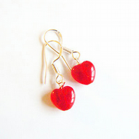 Mini Red Glass Heart Drop Earrings