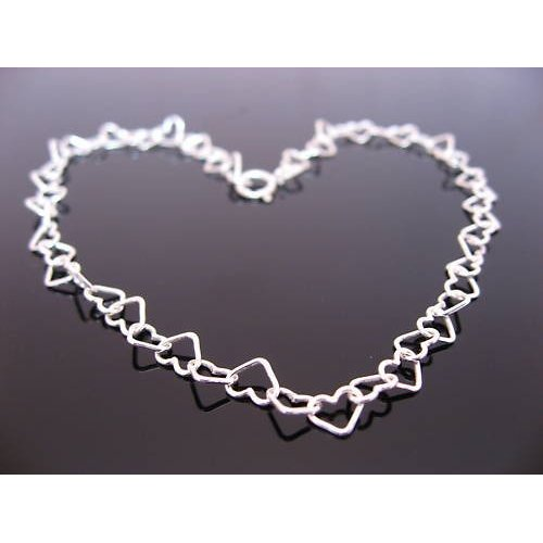 SUMMER SALE. Sterling Silver Heart Bracelet for Kids 6.5 inches