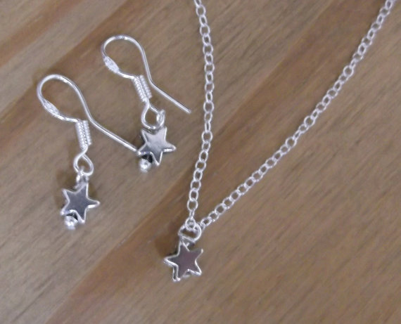 Sterling Star Pendant and Earring Set