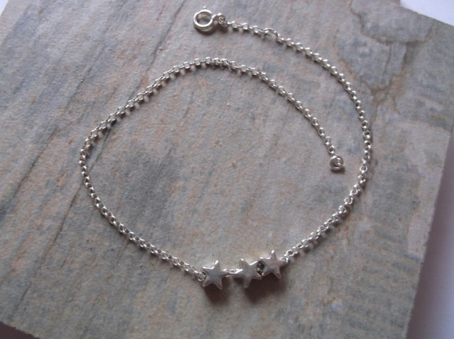 SUMMER SALE. Sterling Silver Stars Bracelet for Adults 7.5 inches