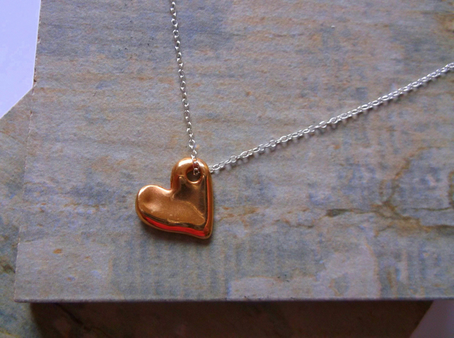 Rose Gold Plate Heart on Sterling Silver Pendant