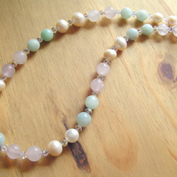 Rose Quartz, Amazonite, Swarovski crystals and Ivory freshwater pearl necklace