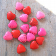 50% OFF ! Red and Hot Pink Howlite Heart Beads approx 10mm in size