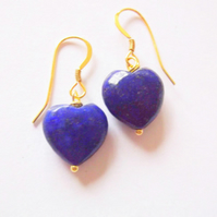 22K Gold Vermeil with Blue Lapis Lazuli Heart Drop Earrings