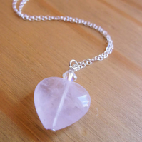 Rose Quartz Heart with Swarovski Crystal Heart Pendant