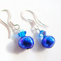 Electric Blue Freshwater Pearl Earrings  Blue Swarovski Crystal Earrings