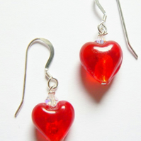 Red Venetian Glass Heart Drop Earrings with Swarovski Crystals