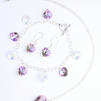 Swarovski Crystals Hearts in Clear AB and Lilac AB Pendant, Bracelet and Earring