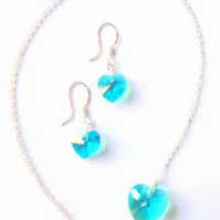 Turquoise Swarovski Heart Pendant and Earring Set