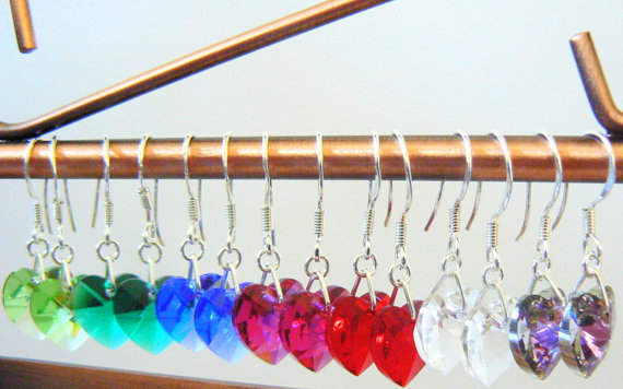 Swarovski Crystal Hearts Drop Earrings
