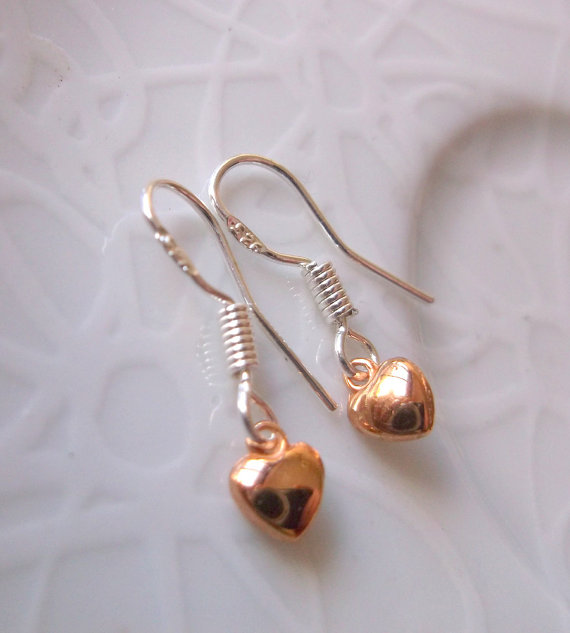 Mini Rose Gold Heart on Silver Drop Earrings.