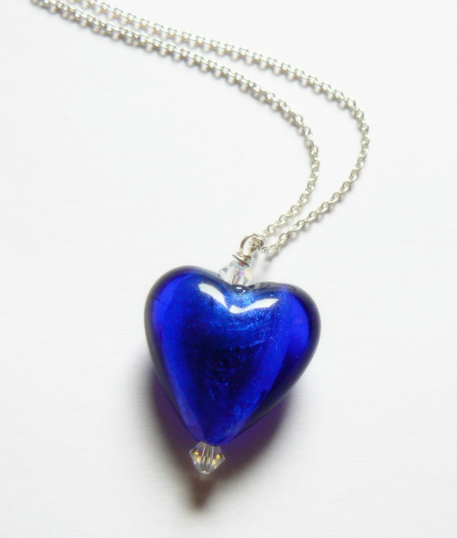 Blue Venetian Glass Heart with Swarovski Crystals Pendant