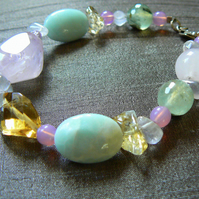 Last One Left. Rose Quartz, Citrine and Amazonite Bracelet