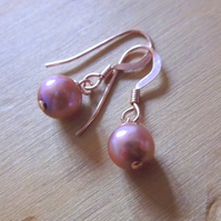 Rose Gold Filled Earrings with Pink Freshwater Pearls