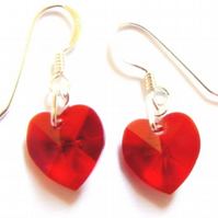 Red Swarovski Crystal Heart Drop Earrings