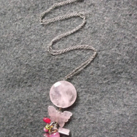 Rose Quartz Butterfly Long Necklace LAST ONE LEFT