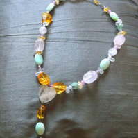 SALE Rose Quartz, Amazonite and Citrine Y Necklace