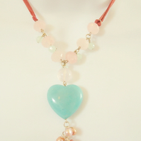 Amazonite Heart with Rose Quartz and Pink Freshwater Pearls