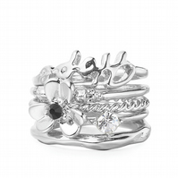 SALE. Silver Floral Stacking Rings