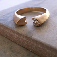 Gold Plate and Crystal Open Heart Ring