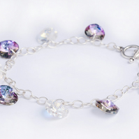 Clear AB and Lilac AB Swarovski Crystal Hearts Bracelet